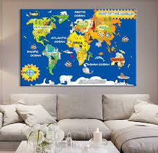 Large Wall Art World Map Canvas Print World Map For Kids World Map With Animals For Nursery Mygreatcanvas Com Extra Large Wall Art Wall Art Print Large World