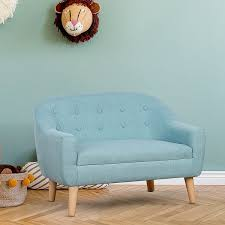 Shop Qaba Kids Sofa Linen Fabric Wooden 2 Seat Armrest Children Chair Cozy On Sale Overstock 31644526