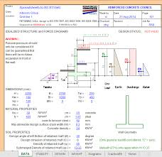 retaining wall design spreadsheet