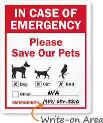 In Case Of Emergency Label Pets Safety Window Decal With Graphic Sku Lb 1575