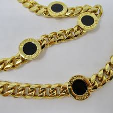 necklace jewelry gold tone black enamel