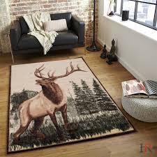 Hr Deer And Nature Design Cabin Contemporary Area Rug 4ft X 6ft Walmart Com Walmart Com