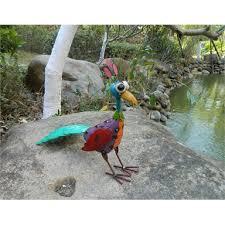 coloured metal bird garden ornament