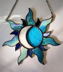 multicolour sun crescent moon