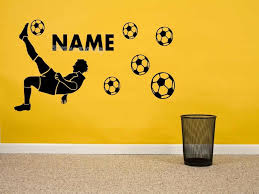 Football Player Silhouette Wall Stickers Personalise Custom Name Number Soccer Boy Bedroom Home Decor New Design Poster Fq614 Wall Stickers Aliexpress