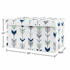 Navy Blue Mint And Grey Woodland Arrow Unisex Boy Or Girl Baby Nursery Or Kids Room Small Fabric Toy Bin Storage Box Chest For Woodsy Collection By Sweet Jojo Designs Only 37 99