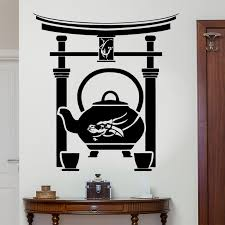 Japanese Wall Sticker Oriental Tea Ceremony Teapot Cup Dragon Teahouse Vinyl Decal Home Decoration Wallpaper Living Room Yd07 Wall Stickers Aliexpress