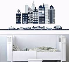 Amazon Com Cityscape Wall Decal Navy Gray And White City Skyline Wall Decal With Cars And Straight Navy Road Home Kitchen