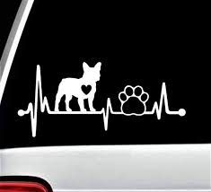 Amazon Com Frenchie French Bulldog Heartbeat Lifeline Dog Paw Decal Sticker For Car Window 8 Inch Bg 156 Handmade