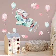 Colorful Cute Flying Rabbit Wall Stickers Pink Balloons For Kids Room Baby Room Balloon Wall Decals Diy Murals Home Decor Wall Stickers Aliexpress