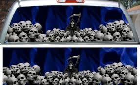 Blue Flame Grim Reaper Skulls Rear Window View Thru Graphic Rapid Grafiks Signs