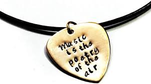 foxwise gold brass guitar pick necklace