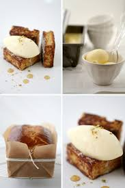 brioche burnt milk ice cream and a