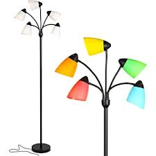 Hroome Cool Creative Floor Lamps Wood Tall Decorative Reading Standing Adjustable Light For Kids Boys Girls Living Room Bedroom Office Farmhouse With Led Bulb Orange Amazon Com