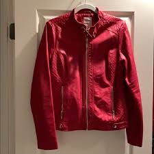 guess red leather jacket rockstar jacket