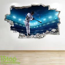 Baseball Wall Sticker 3d Look Boys Kids Bedroom Sport Wall Decal Z289 Ebay
