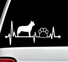 Blue Heeler Heartbeat Lifeline Dog Paw Decal Sticker For Car Etsy