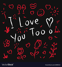 i love you too hand drawn royalty free
