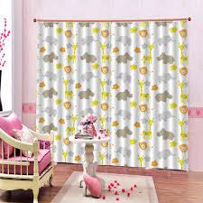 Custom Half Shading Cartoon Elephant Window Curtains For Kids Room Cute Animals Zoo Cortinas For Children S Room Bedroom Curtains Aliexpress