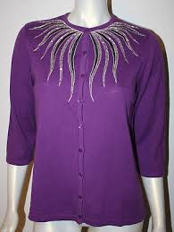 bob mackie purple black silver beaded