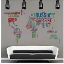 World Map Wall Sticker Country Names Large Colour Letter Decal Decoration Mural Ebay