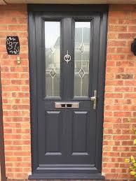 glazed composite front door in grey