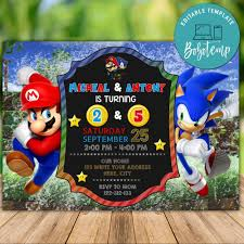 Cumpleanos Imprimible De Super Mario Bros Y Sonic Boy Sibling