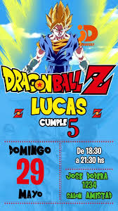 Tarjeta Invitacion Cumpleanos Digital Dragon Ball Z 160 00 En
