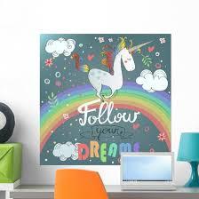 Follow Your Dreams Cute Unicorn Wall Decal Wallmonkeys Com