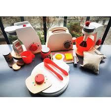 toys set wooden toaster coffee machine