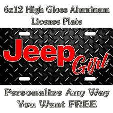 Jeep Logo Diamond Plate Girl Sign Custom Monogram License Plate Car Tag No Decal Ebay