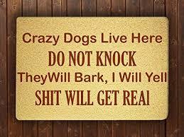 com crazy dogs live here funny door mat sweet home