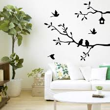 Self Adhesive Bird Tree Vinyl Wall Stickers Decals Art Word Decoration Black White Pink Gray Home Office Wall Decor Sticker Wall Stickers Aliexpress