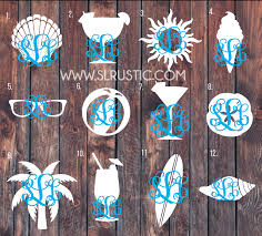 Two Toned Beach Day Monogram Decal Monogram Sticker Seashell Sungla Slrustic