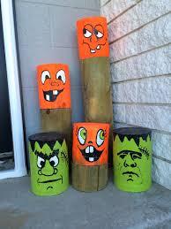 Halloween Painted Fence Post Pumpkins Fall Halloween Crafts Fun Diy Halloween Decorations Halloween Crafts Decorations