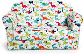 Amazon Com Costzon Kids Sofa Double Seat Children S Sofa W Dinosaur Pattern Toddler Furniture Armrest Chair For Bedroom Living Room Large Kids Couch W Sturdy Wood Construction Comfortable Back Multicolor Kitchen Dining
