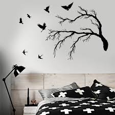 Funny Vinyl Wall Decal For Bedroom Flock Of Birds Gothic Tree Branch Style Wall Stickers Decor Dining Room Cafe Decoration W849 Wall Stickers Aliexpress