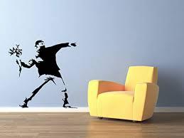 Amazon Com Banksy Flower Thrower Bomber Street Graffiti Art Wall Decal 24 X 24 Home Kitchen