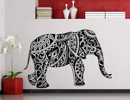 Amazon Com Awesome Decals Indian Elephant Wall Decal Namaste Yoga Mehndi Style Indian Symbol Vinyl Sticker Home Nursery Kids Boy Girl Room Interior Art Decoration Any Room Mural Waterproof Vinyl Sticker 18ma Home
