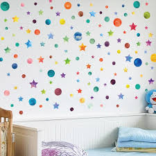 Rainbow Color Dots Star Wall Sticker For Kids Room Children Home Decor Decals Creative Removable Living Room Diy Vinyl Stickers Wall Stickers Aliexpress