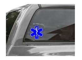 Star Of Life Emt Ems Vinyl Window Decal Sticker Blue White Ebay