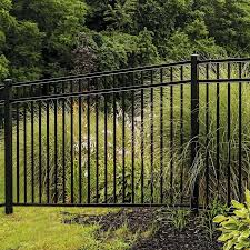 Freedom Heavy Duty New Haven 4 5 Ft H X 8 Ft W Black Aluminum Flat Top Decorative In The Metal Fence Panels Department At Lowes Com