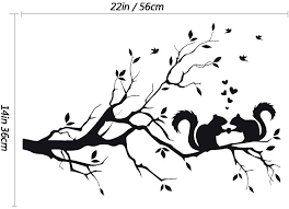 Amazon Com Lzymsz 22 X 14in Black Tree Branches Wall Decor Decal Love Squirrel Sticker Nursery Leaves Diy Removable Vinyl Wall Art Wallpaper Mural Home Decoration For Living Room Bedroom And Farmhouse Decor
