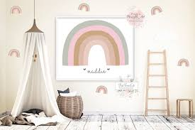 6 Rainbow Wall Decal Stickers Baby Boy Girl Gender Neutral Nursery Art Pink Forest Cafe