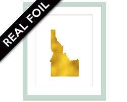 idaho art print gold foil print
