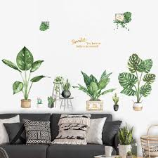 Diy Beach Tropical Palm Leaves Wall Stickers Modern Art Vinyl Decal Wall Mural For Living Room Bedroom Green Plant Wallpapers Wall Stickers Aliexpress