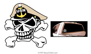 Navychief Com 4 X 4 Navy Senior Chief Skull And Crossbones Color Vinyl Window Sticker Navy Chief Window Vinyl Skull And Crossbones