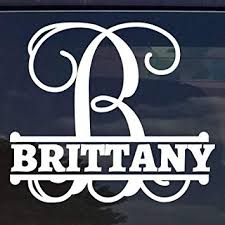 Handmade Products Stickers Laptops Initial Bumper Sticker Name Sticker Car Windows For Tumblers Custom Flower Name Monogram Vinyl Decal