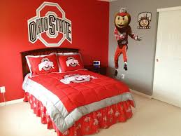 Pin By Beth Liller On Favorite Places Spaces Ohio State Bedroom Ohio State Rooms Sports Themed Bedroom
