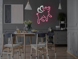 Flying Pig Neon Sign Wall Mounted Neon Mfg